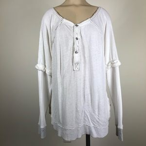 Free People White Layered Button Front Thermal